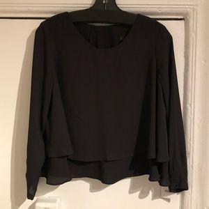 Zara Basic Black Double Layer Flowy Blouse